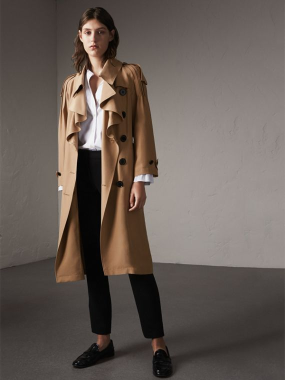 Ruffle Detail Silk Trench Coat in Honey - Women | Burberry