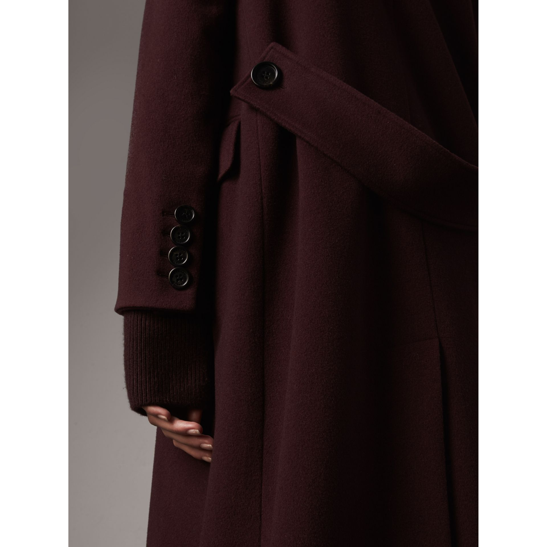 Detachable Rib Knit Collar Cashmere Coat in Blackcurrant - Women | Burberry - gallery image 2