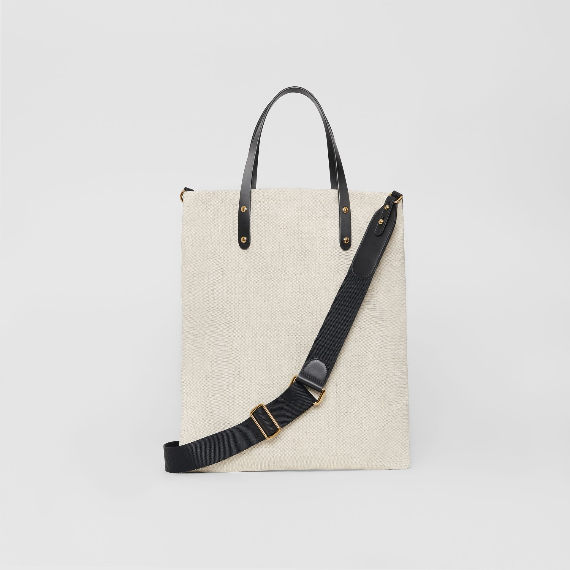 Logo Cotton Canvas Tote Bag in Natural | Burberry - gallery image 7