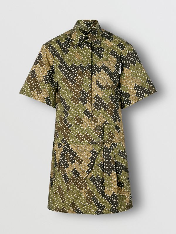 Short-sleeve Monogram Print Shirt Dress in Khaki Green - Women | Burberry - cell image 3