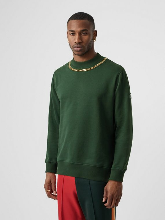 Chain Detail Cotton Sweatshirt in Dark Pine Green