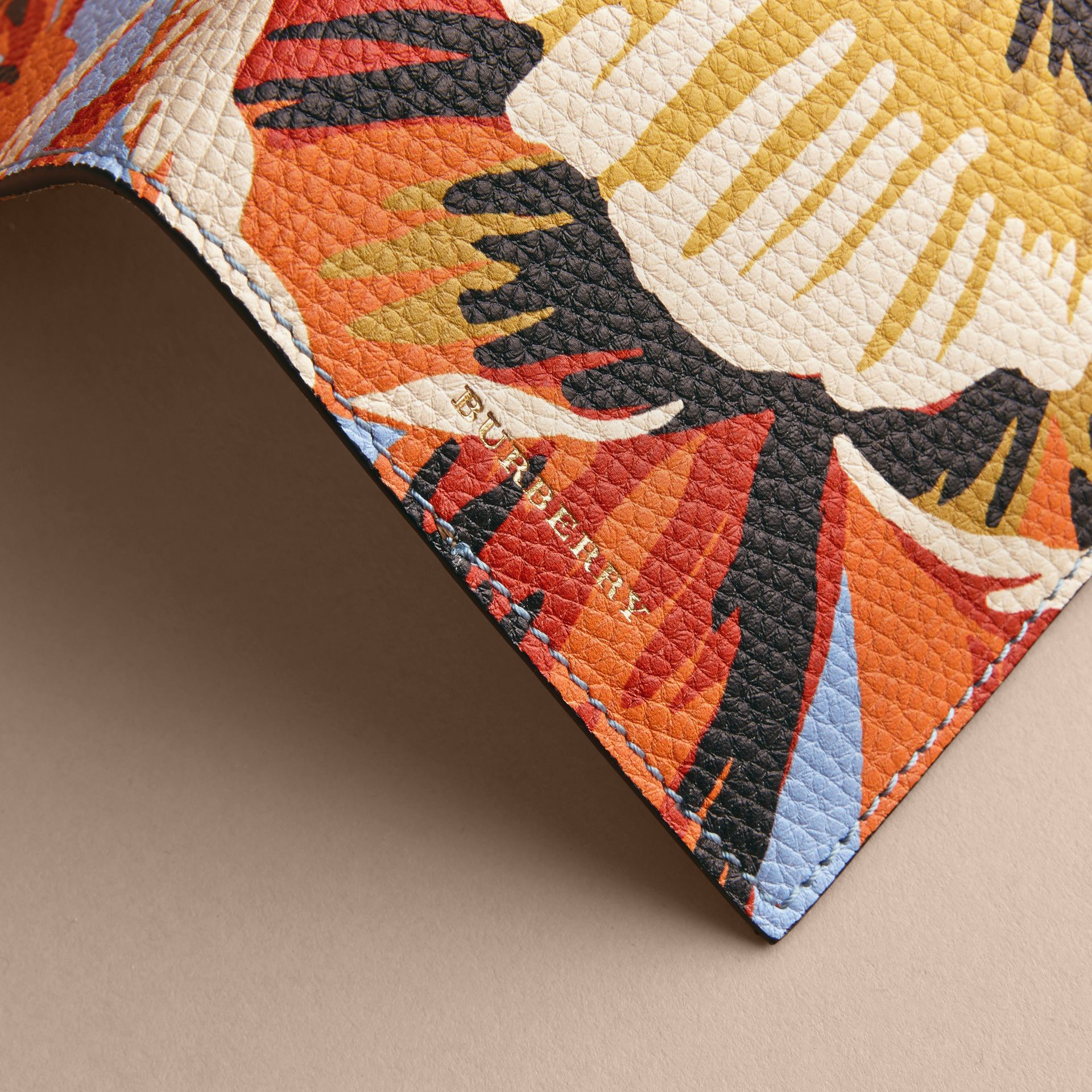 Peony Rose Print Leather Passport Cover in Pale Blue/vibrant Orange | Burberry - gallery image 2