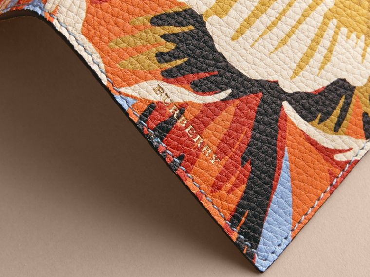 Peony Rose Print Leather Passport Cover in Pale Blue/vibrant Orange | Burberry - cell image 1