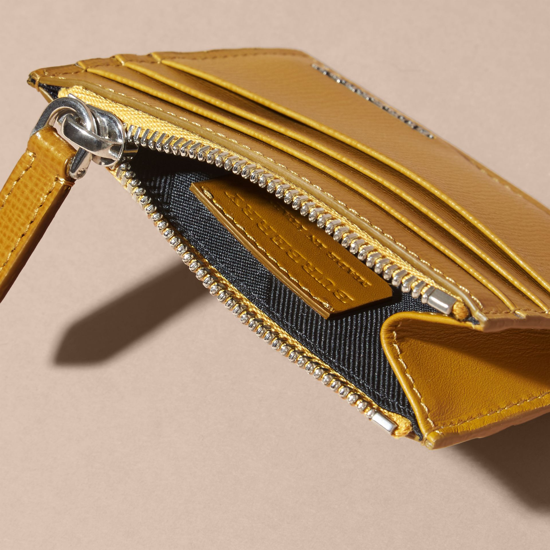 London Leather Zip-top Card Case in Larch Yellow - gallery image 5