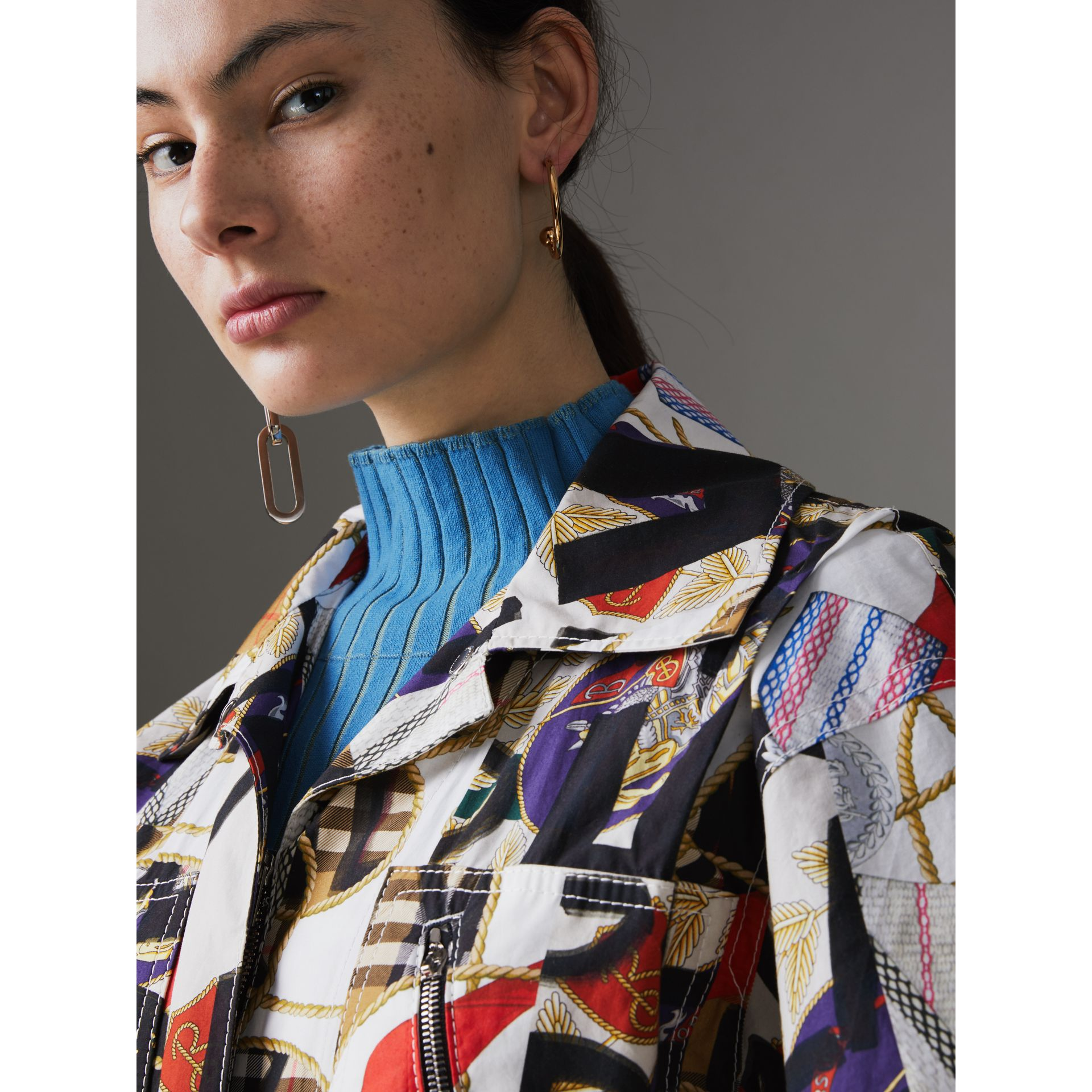 Graffiti Archive Scarf Print Cotton Jumpsuit in Stone - Women | Burberry Hong Kong - gallery image 1