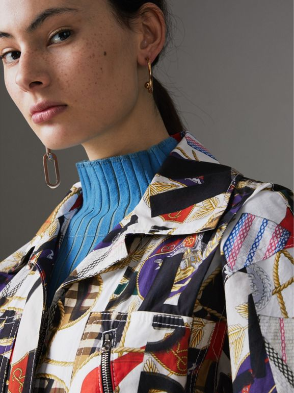 Graffiti Archive Scarf Print Cotton Jumpsuit in Stone - Women | Burberry Hong Kong - cell image 1