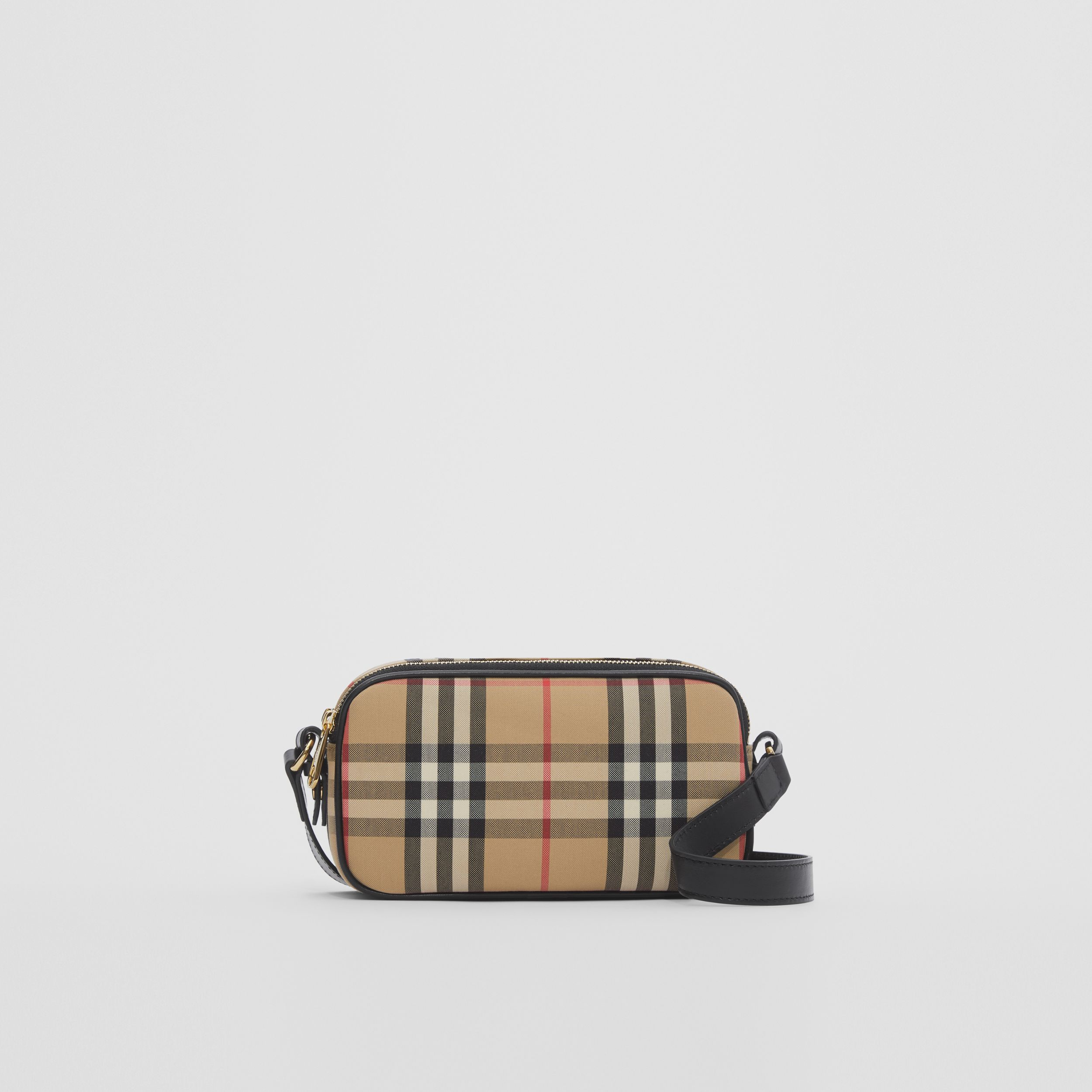 Mini Vintage Check and Leather Camera Bag in Archive Beige | Burberry - 1