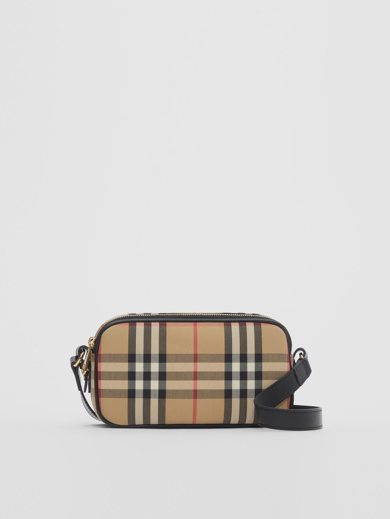 Mini Vintage Check and Leather Camera Bag in Archive Beige