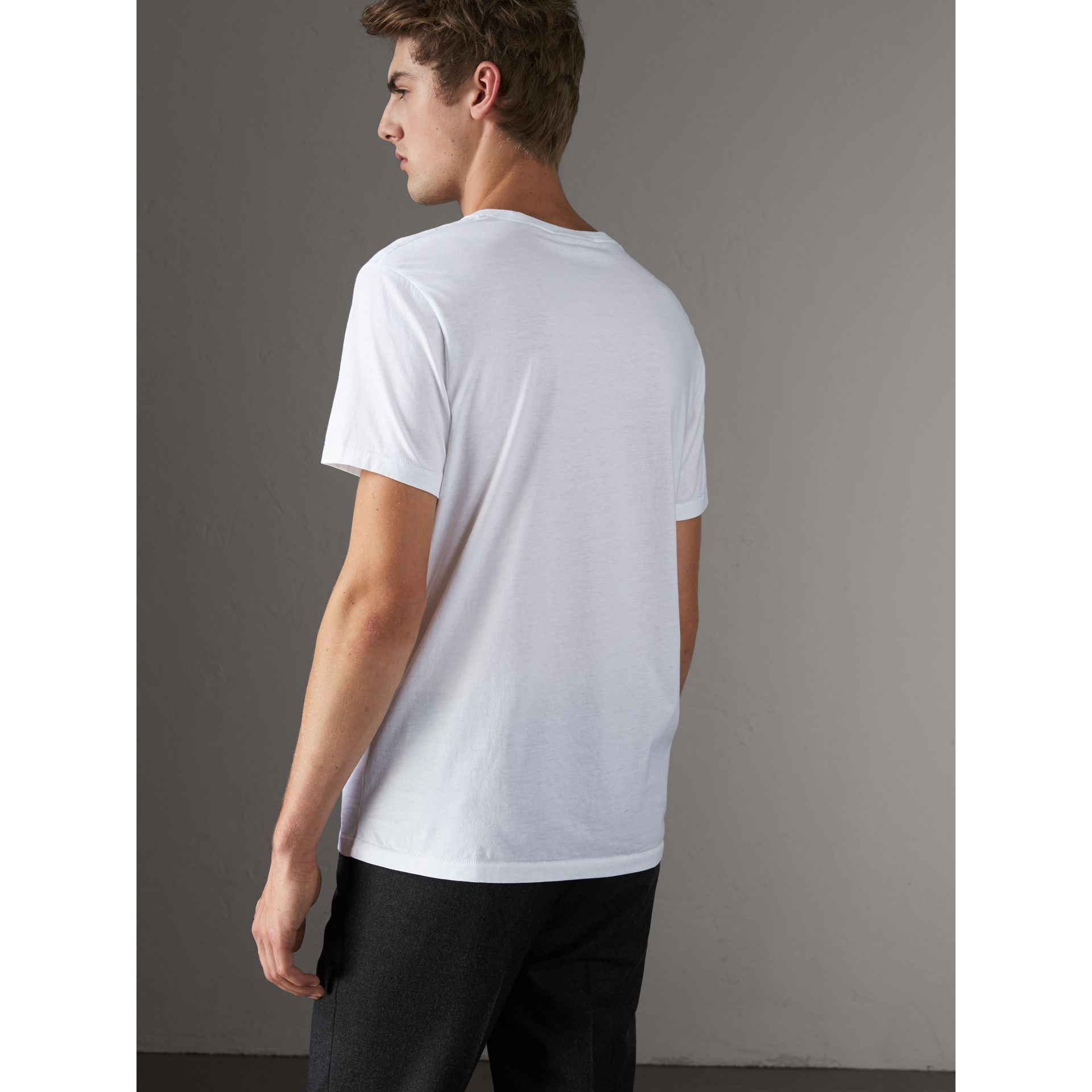 Cotton Jersey T-shirt in White - Men | Burberry Australia - gallery image 2