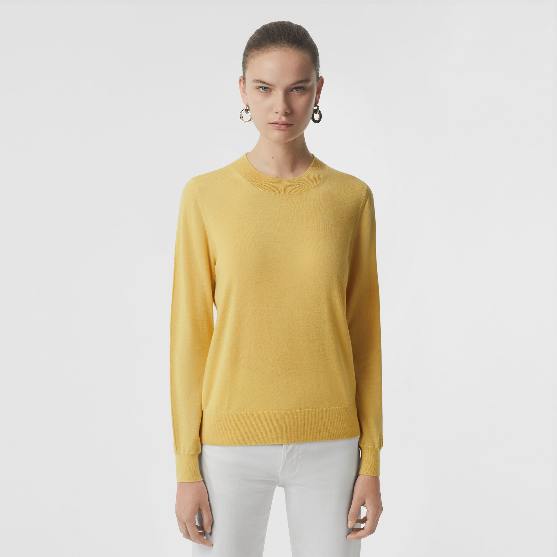 Logo Detail Merino Wool Sweater in Primrose Yellow - Women | Burberry Canada - gallery image 4
