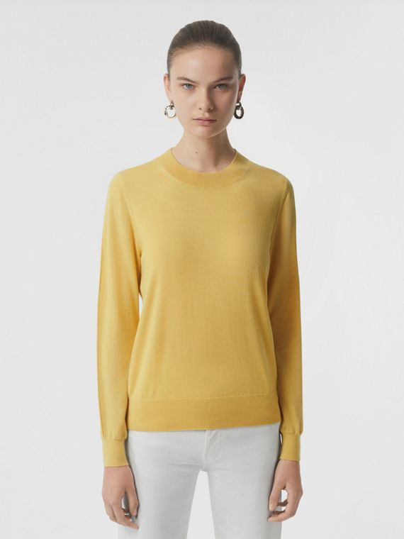 Logo Detail Merino Wool Sweater in Primrose Yellow