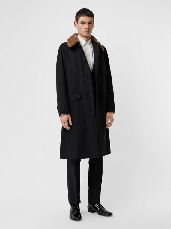 Contrast Shearling Collar Cotton Car Coat in Black