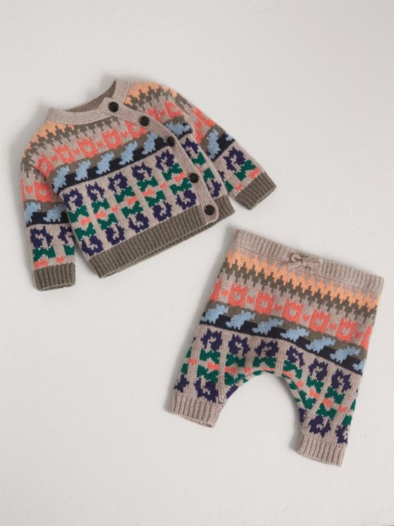 Fair Isle Wool Cashmere Two-piece Baby Gift Set in Pale Cinnamon