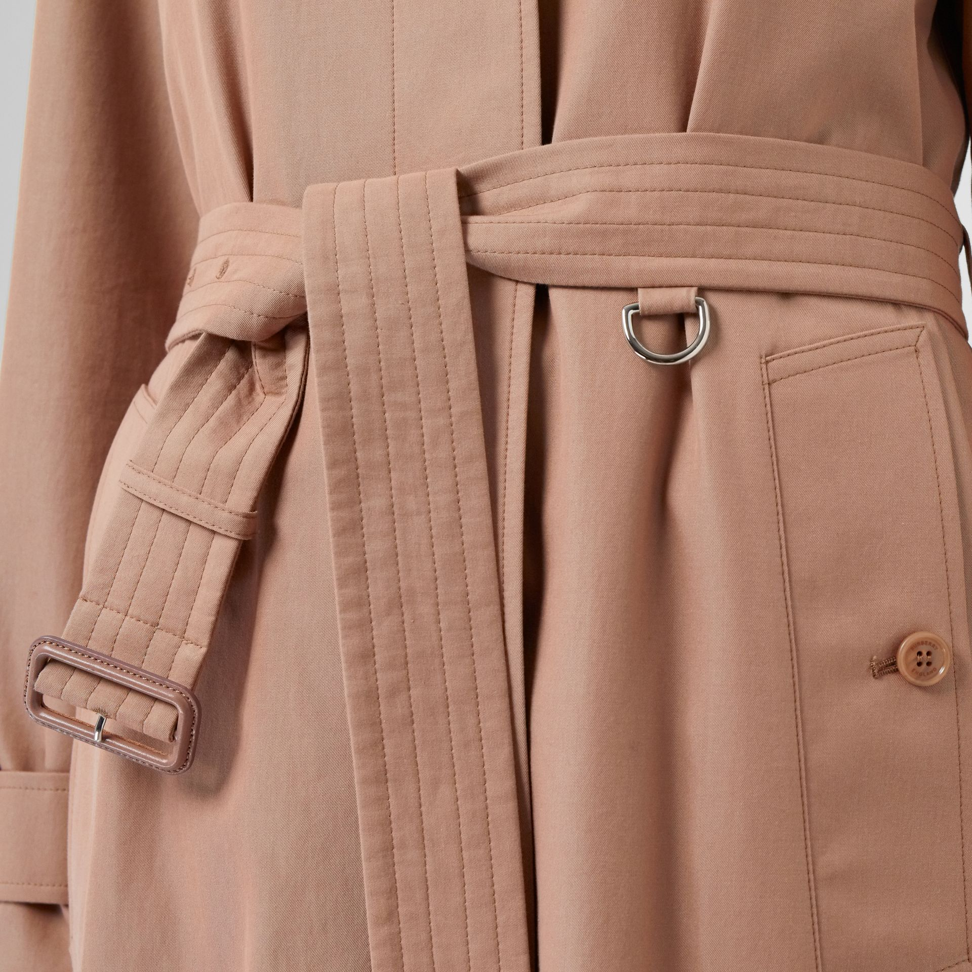 Tropical Gabardine Belted Car Coat in Pink Apricot - Women | Burberry - gallery image 7
