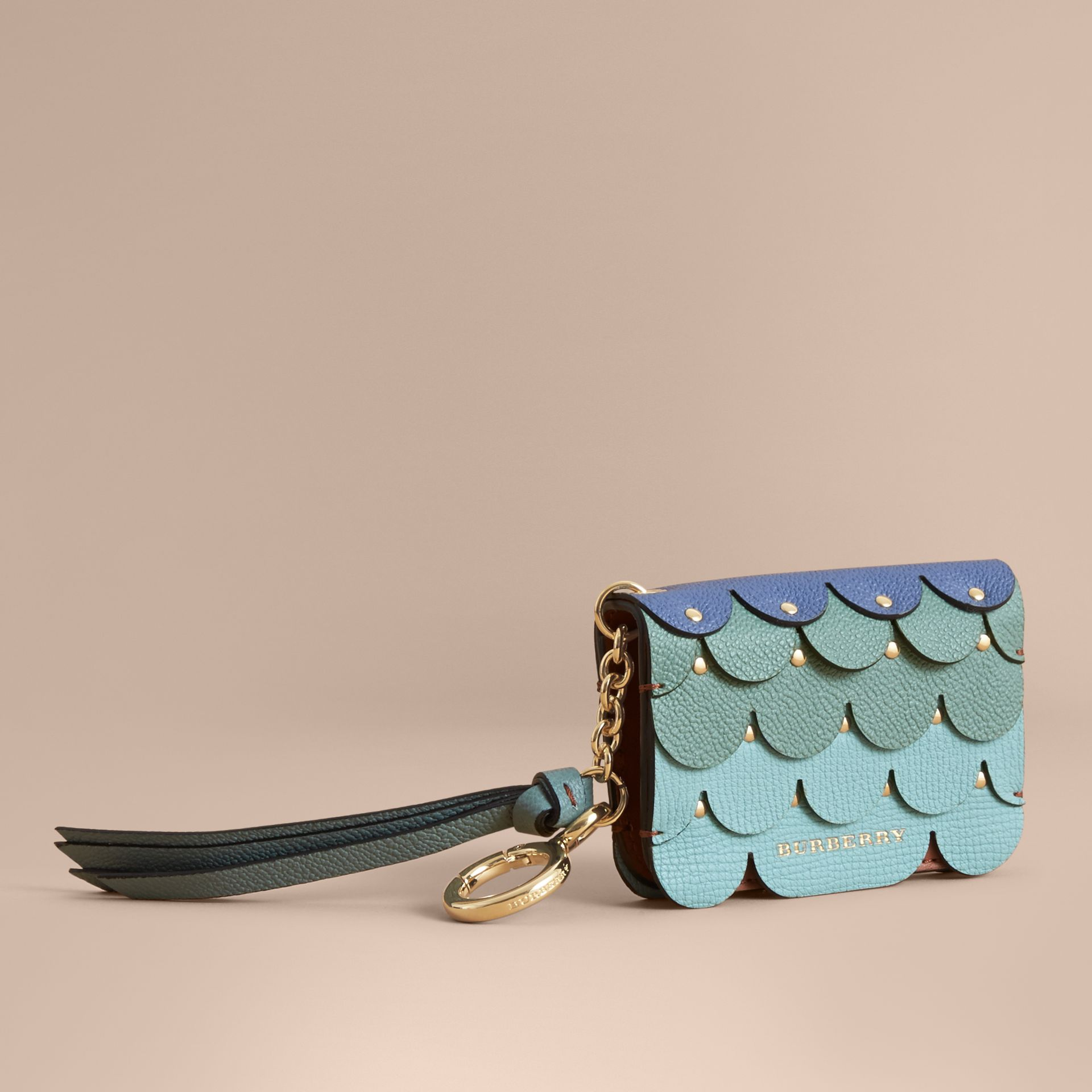 Scalloped Leather Card Case Bright Toffee - gallery image 1