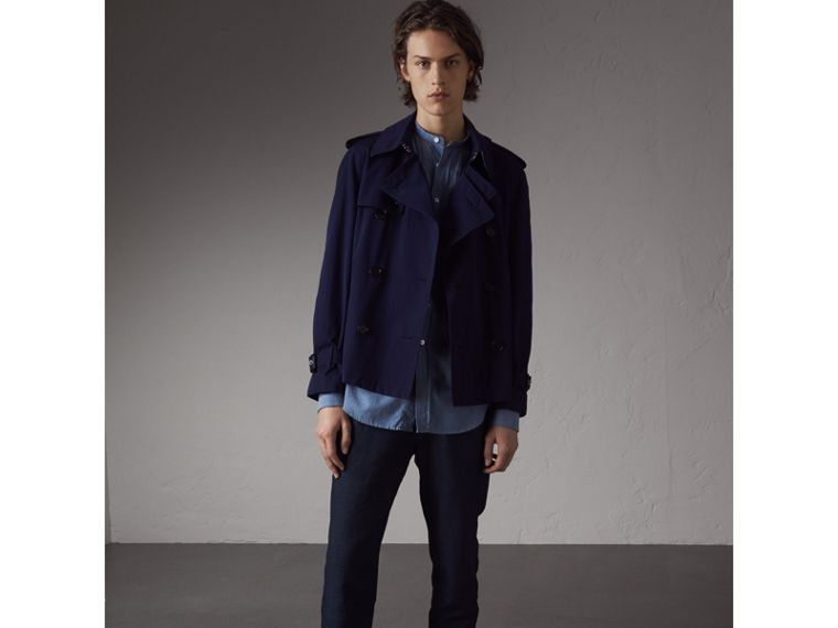 Grandad Collar Pleated Bib Cotton Shirt in Denim Blue - Men | Burberry - cell image 4