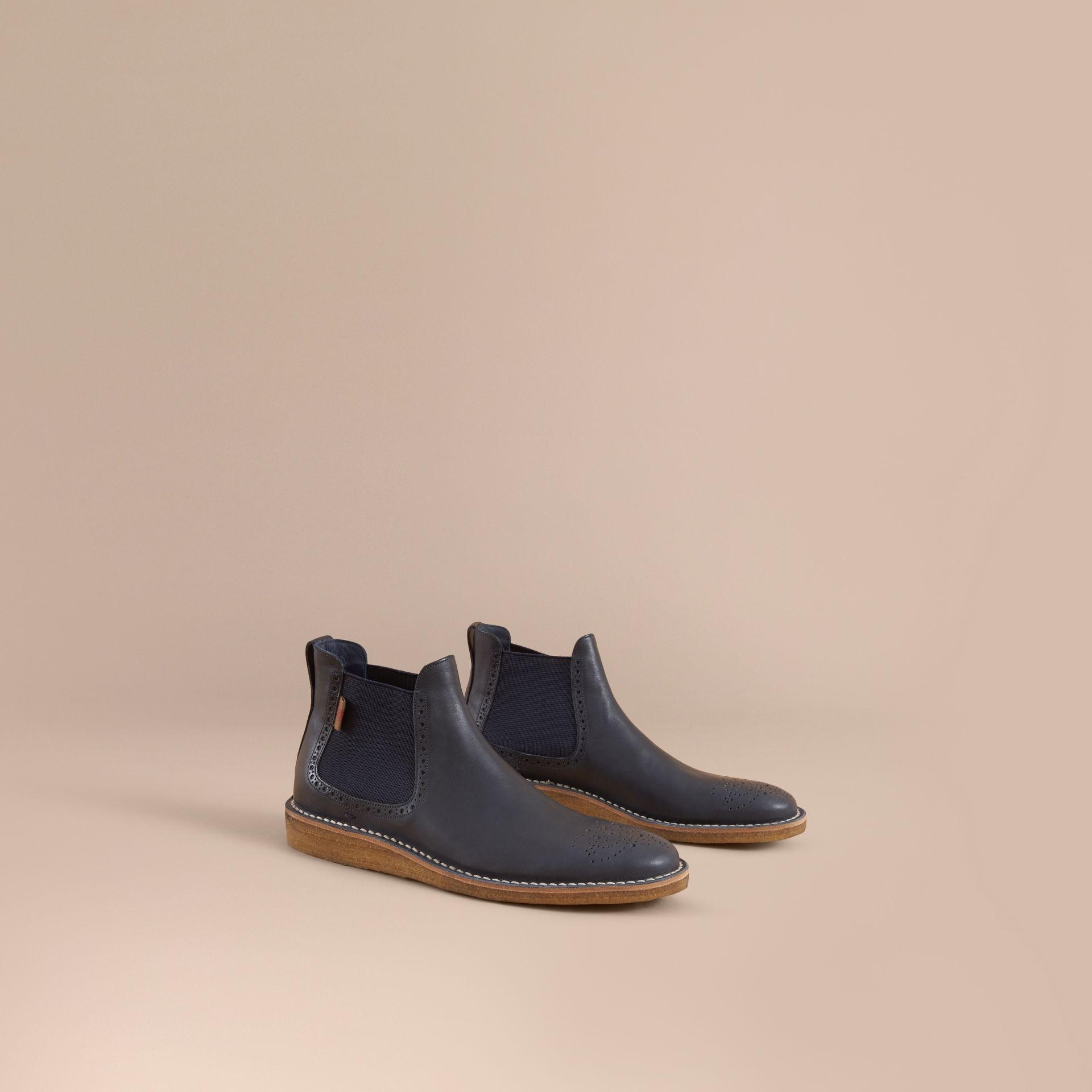 Leather Chelsea Boot in Navy - Men | Burberry Singapore - gallery image 1