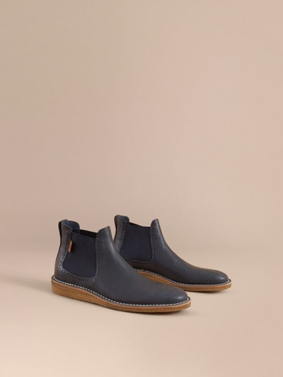 Leather Chelsea Boot in Navy