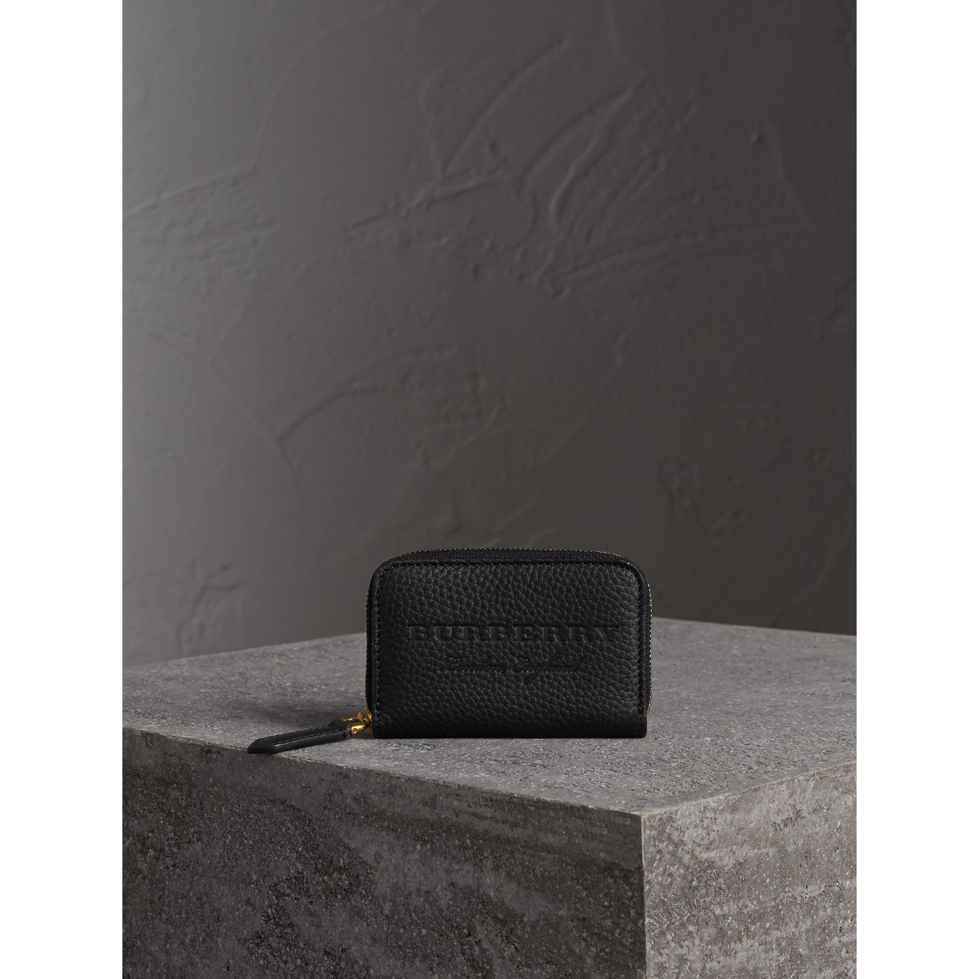 Textured Leather Ziparound Coin Case in Black - Men | Burberry - gallery image 4