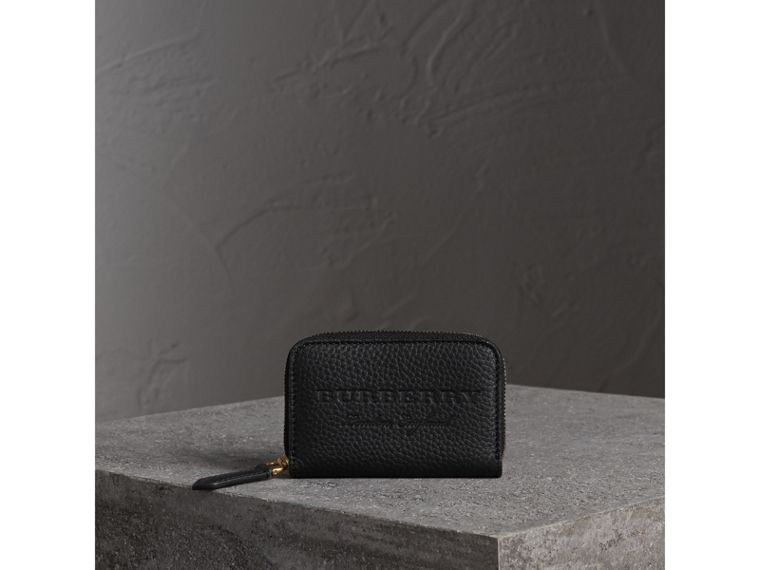 Textured Leather Ziparound Coin Case in Black - Men | Burberry Canada - cell image 4