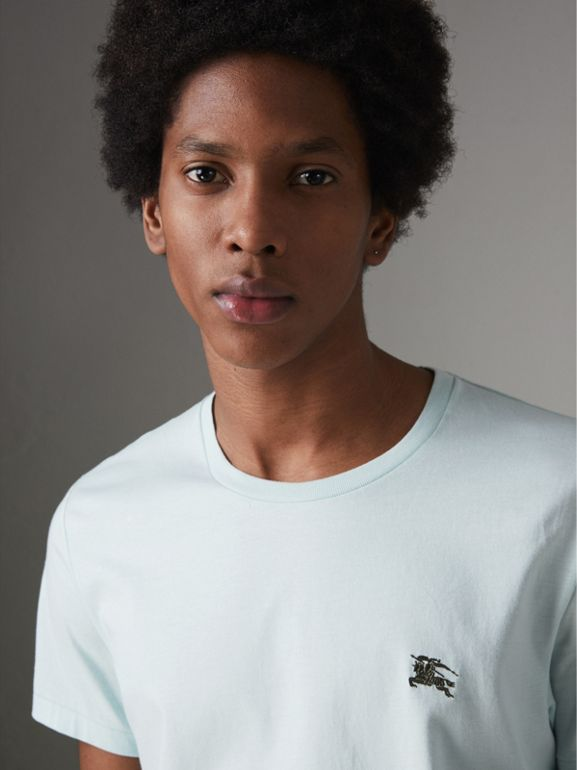Cotton Jersey T-shirt in Pearl Blue - Men | Burberry - cell image 1