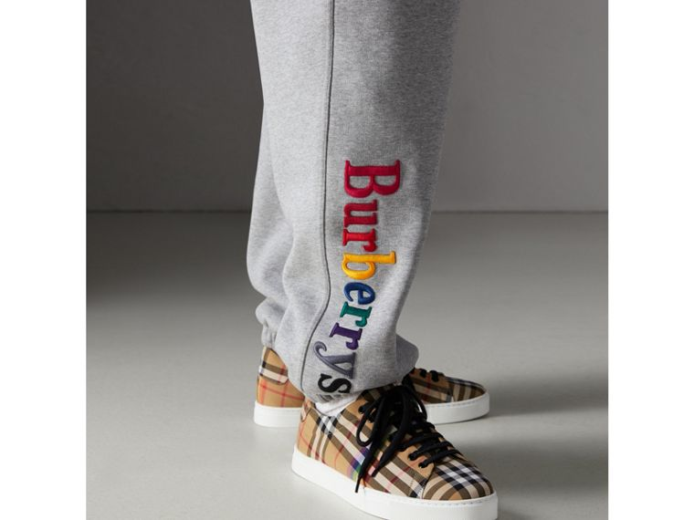Archive Logo Jersey Sweatpants in Grey Melange - Men | Burberry Singapore - cell image 1