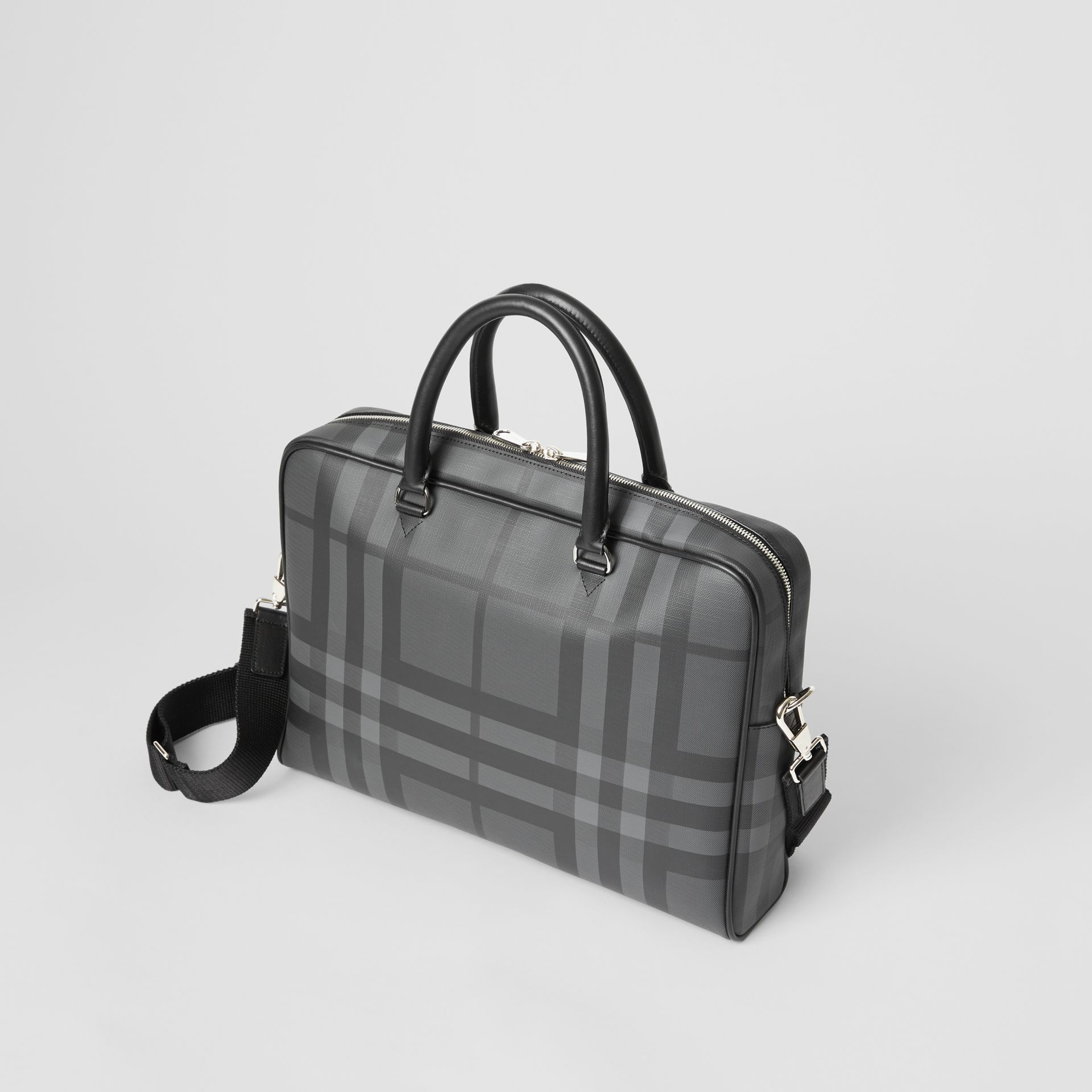 London Check and Leather Briefcase in Charcoal/black - Men | Burberry Australia - gallery image 4