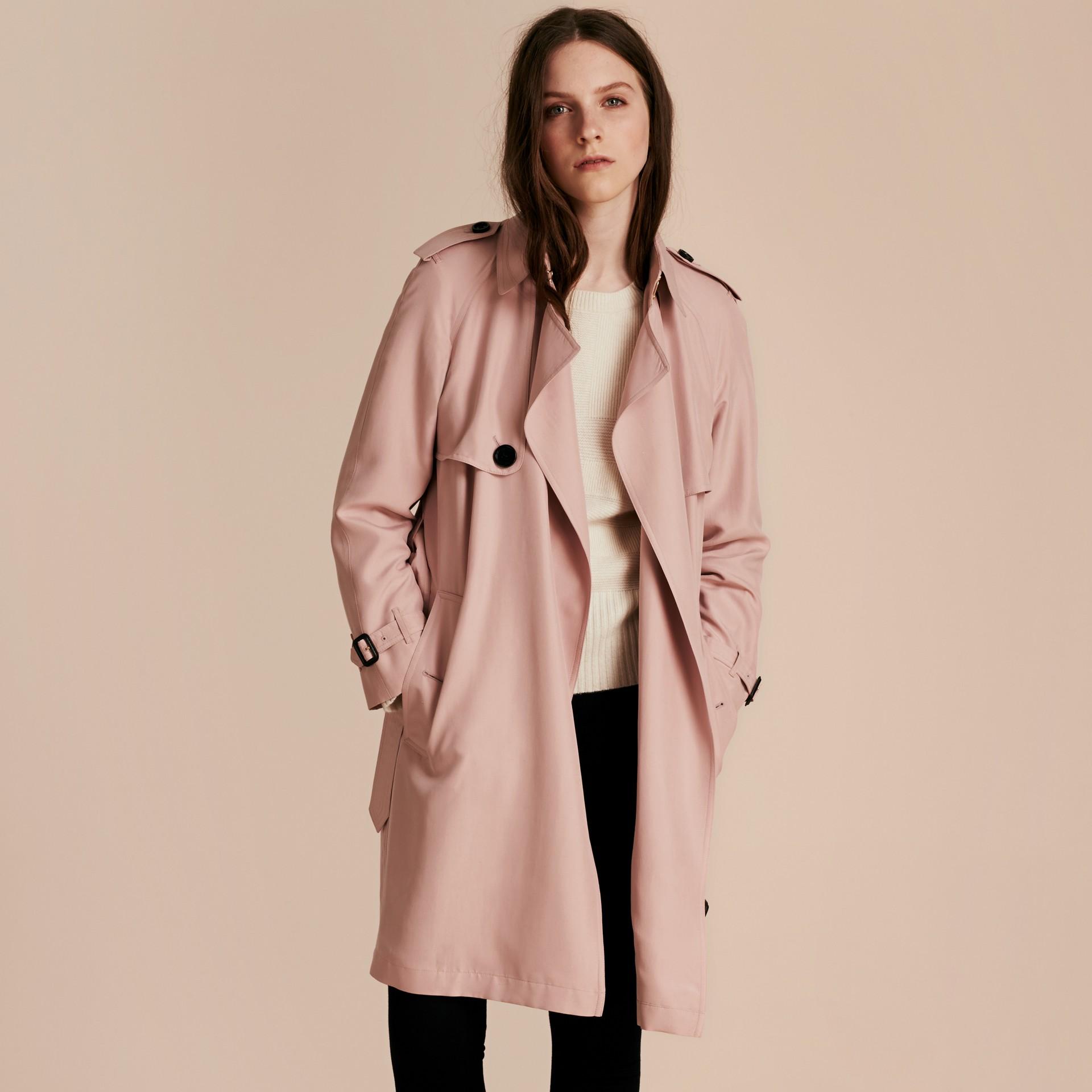 Chalk pink Lightweight Slub Silk Wrap Trench Coat - gallery image 7