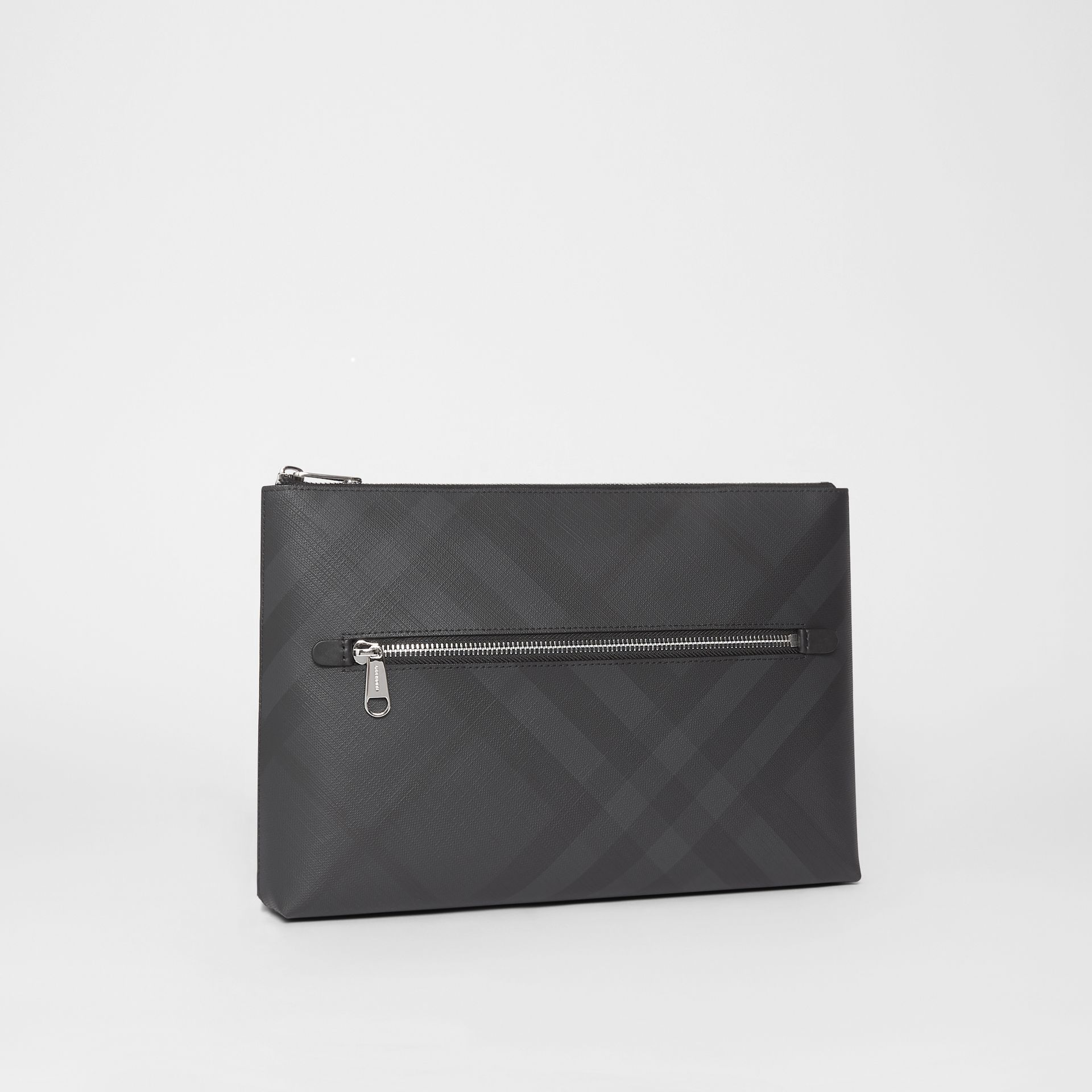London Check Zip Pouch in Dark Charcoal | Burberry - gallery image 5