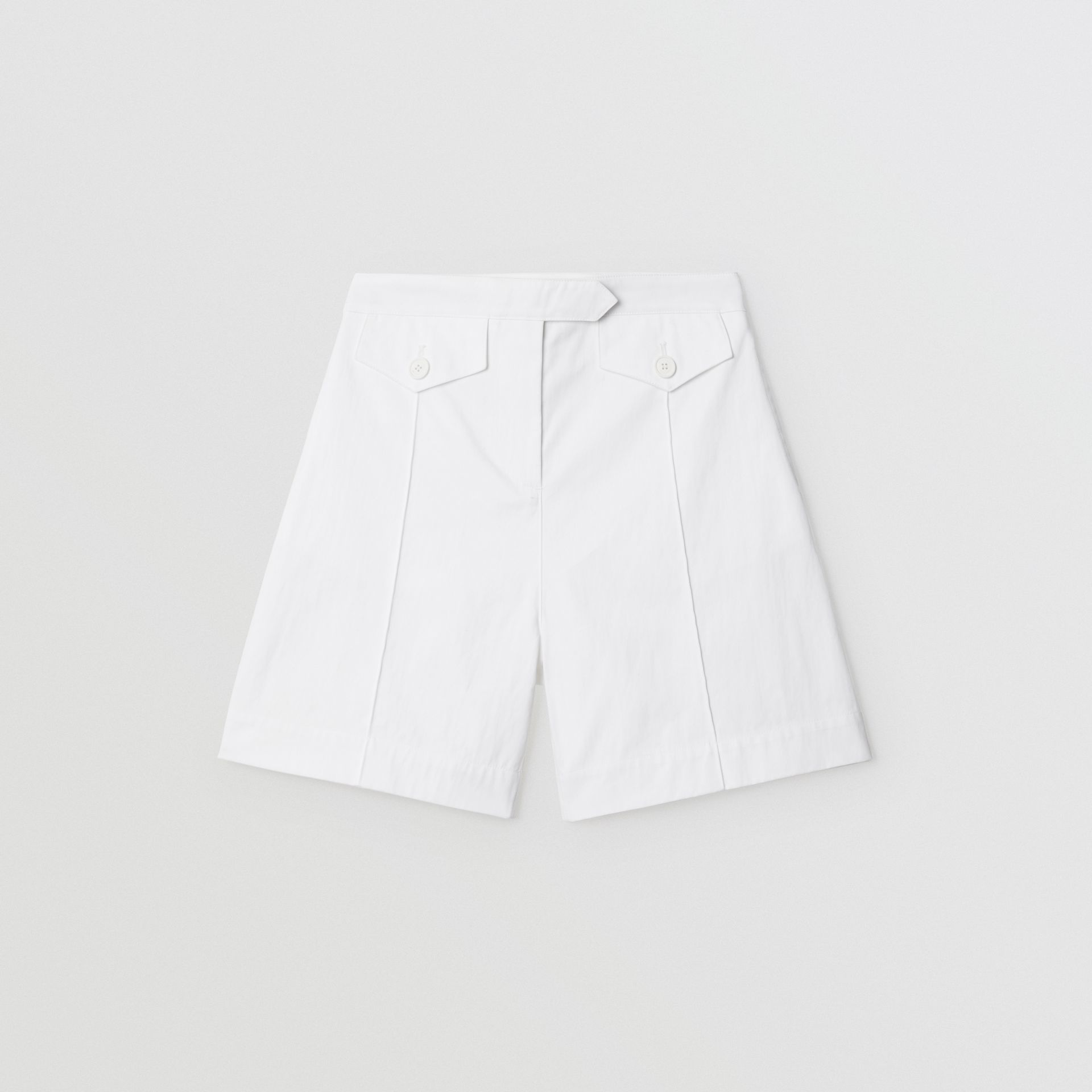 Logo Print Cotton Tailored Shorts in Optic White | Burberry - gallery image 0