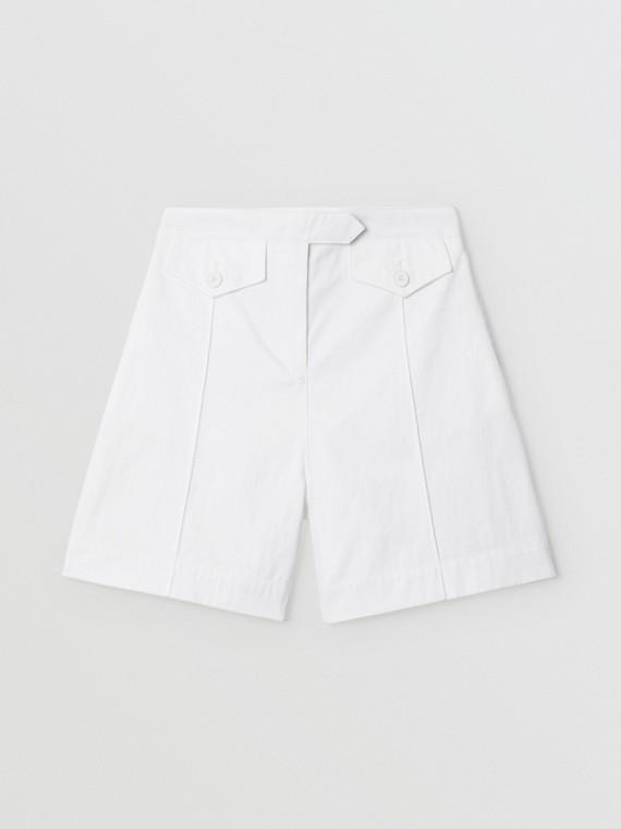 Bermuda de alfaiataria em algodão com estampa de logotipo (Branco Ótico)