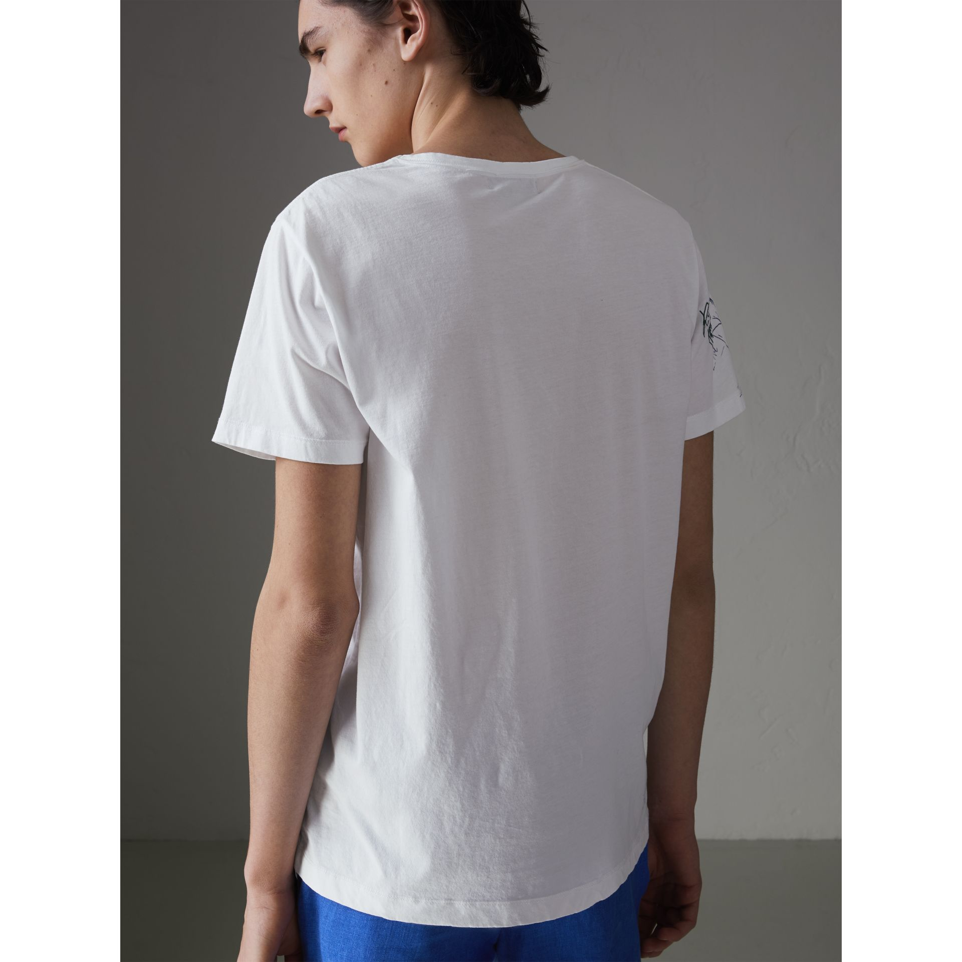 Sketch Print Cotton T-shirt in White - Men | Burberry Canada - gallery image 2