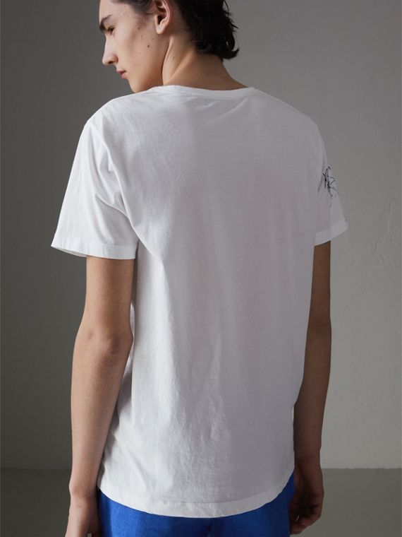 Sketch Print Cotton T-shirt in White - Men | Burberry Hong Kong - cell image 2