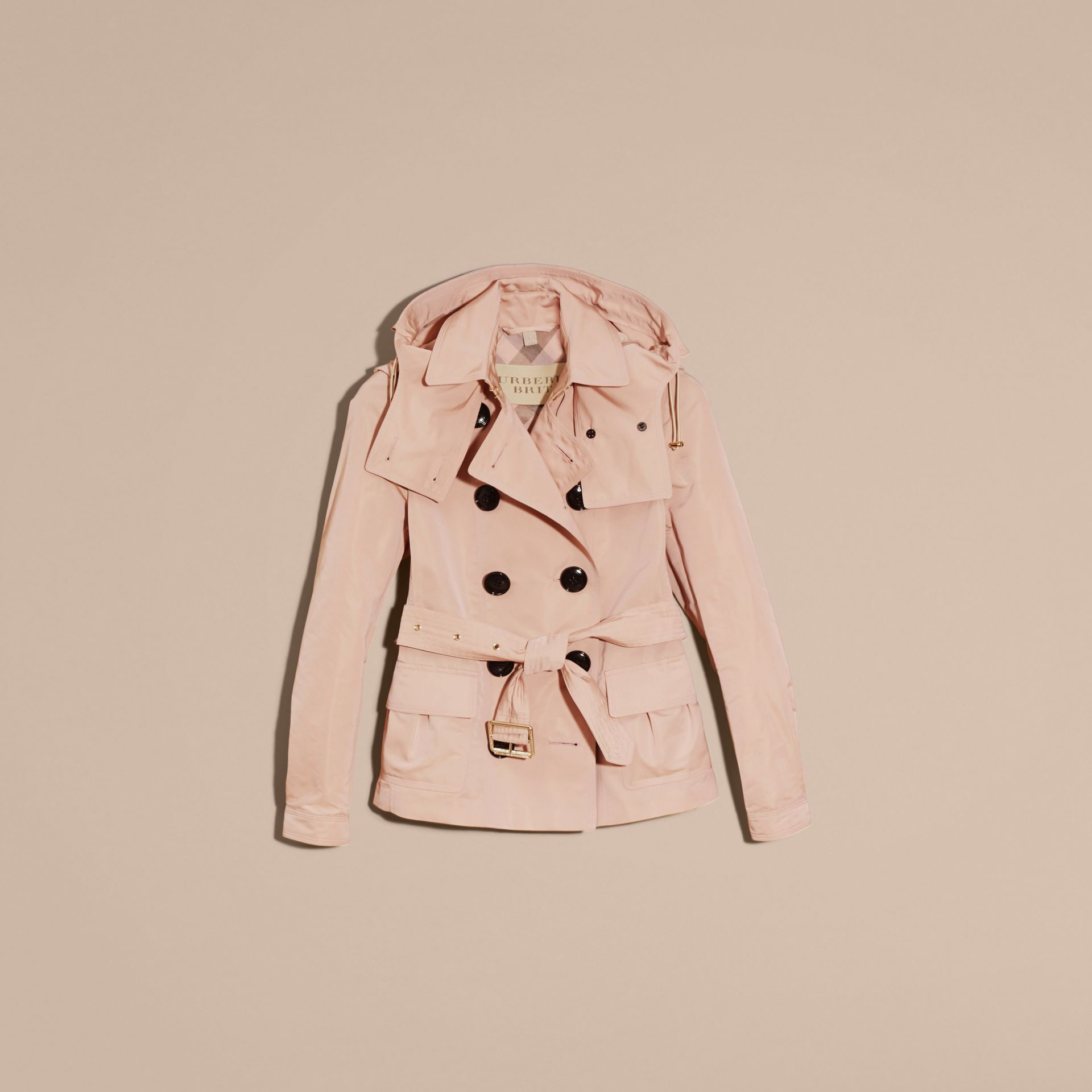 Chalk pink Showerproof Taffeta Trench Jacket with Detachable Hood Chalk Pink - gallery image 4