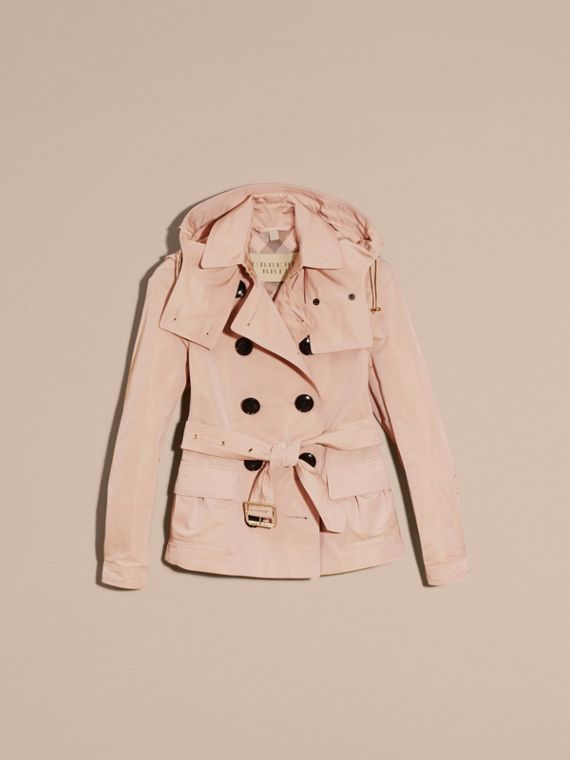 Chalk pink Showerproof Taffeta Trench Jacket with Detachable Hood Chalk Pink - cell image 3