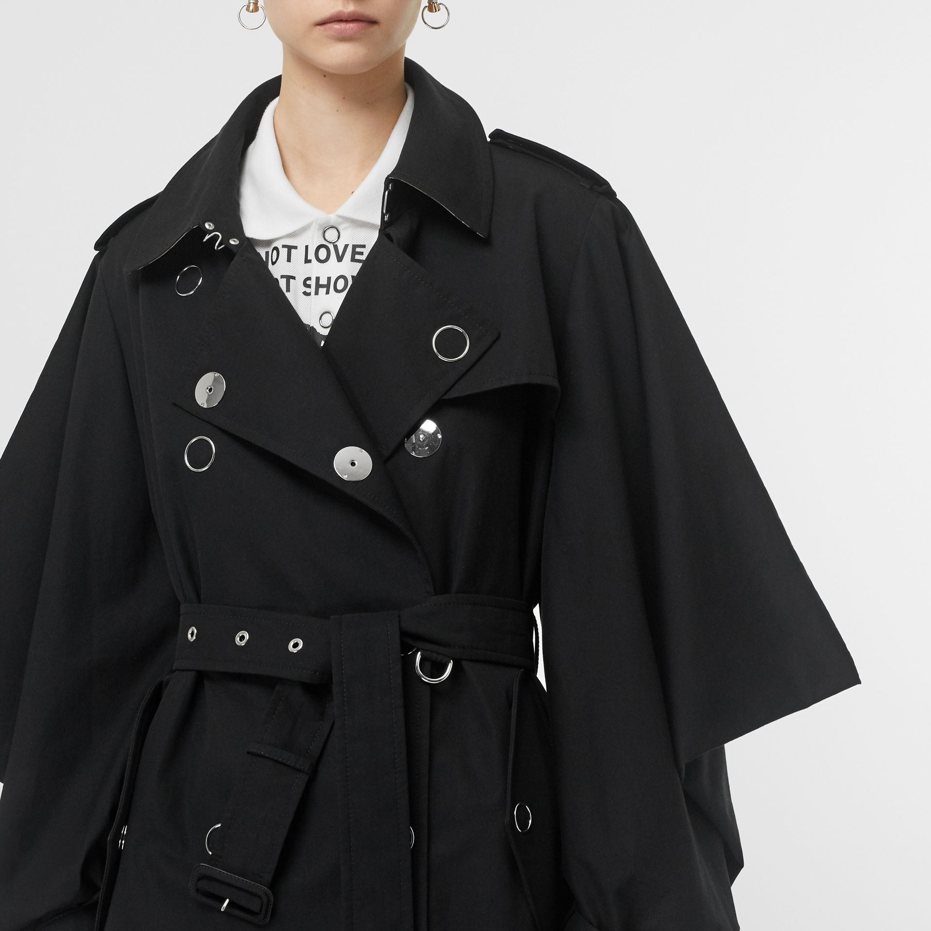 Cape-style Sleeve Cotton Gabardine Trench Coat in Black - Women | Burberry Singapore - gallery image 4