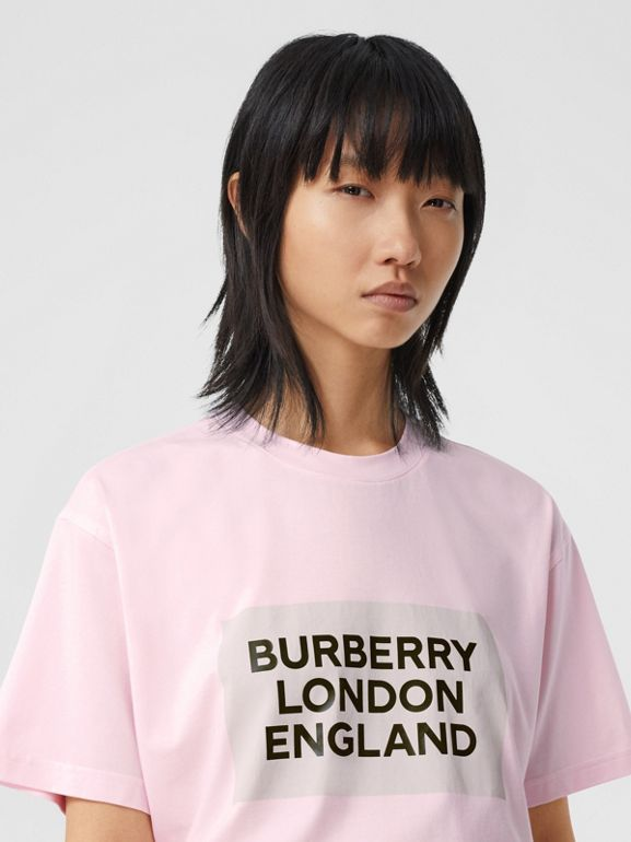 Logo Print Stretch Cotton Oversized T-shirt in Cloud Pink - Women | Burberry Canada - cell image 1