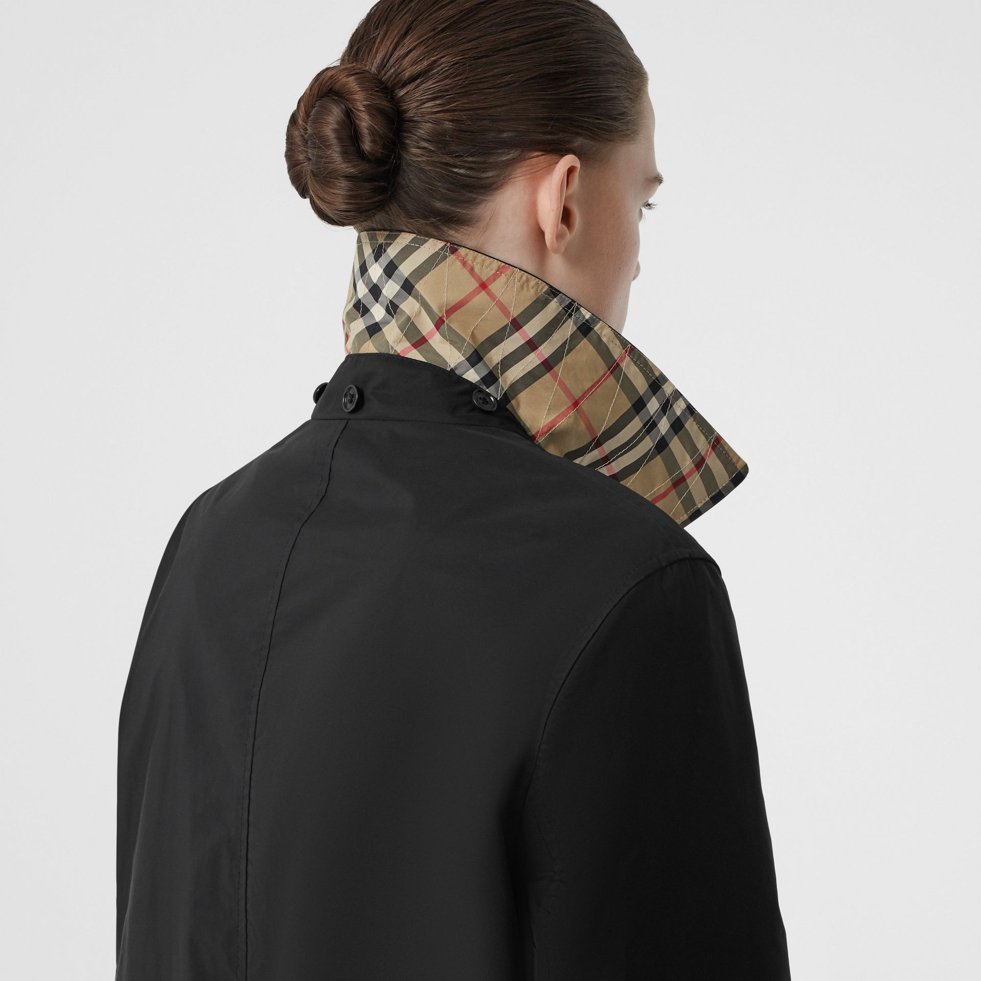 Detachable Hood Shape-memory Taffeta Car Coat in Black - Women | Burberry United Kingdom - gallery image 1