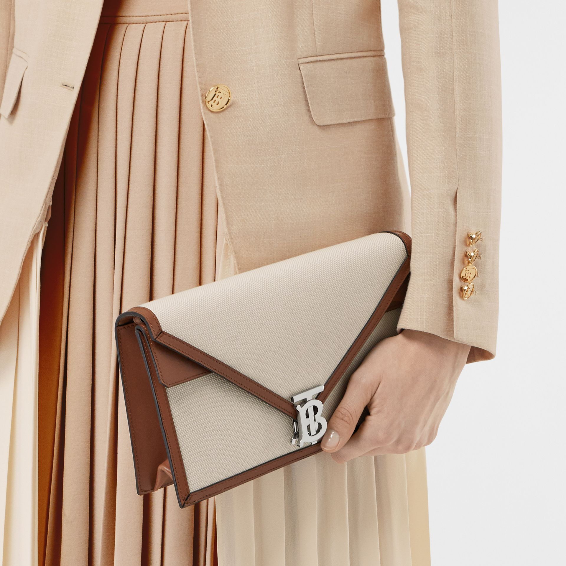Small Canvas and Leather TB Envelope Clutch in Natural - Women | Burberry Canada - gallery image 2