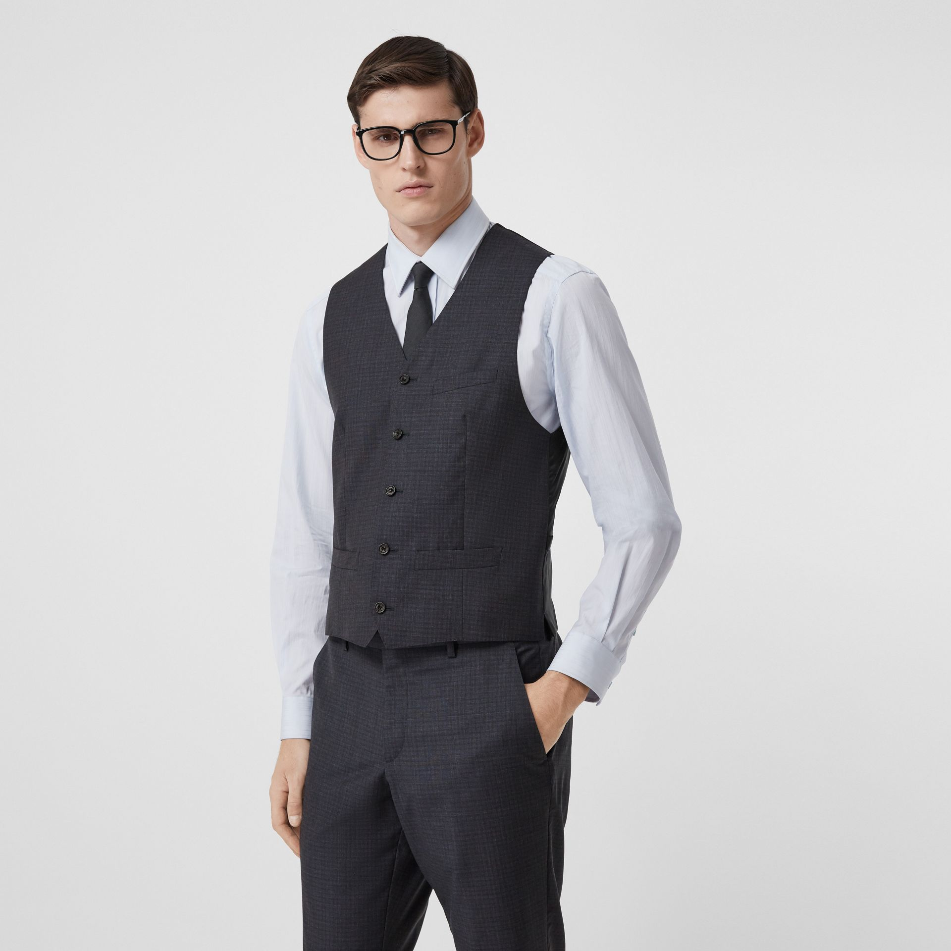 Classic Fit Check Wool Silk Three-piece Suit in Navy - Men | Burberry United Kingdom - gallery image 6