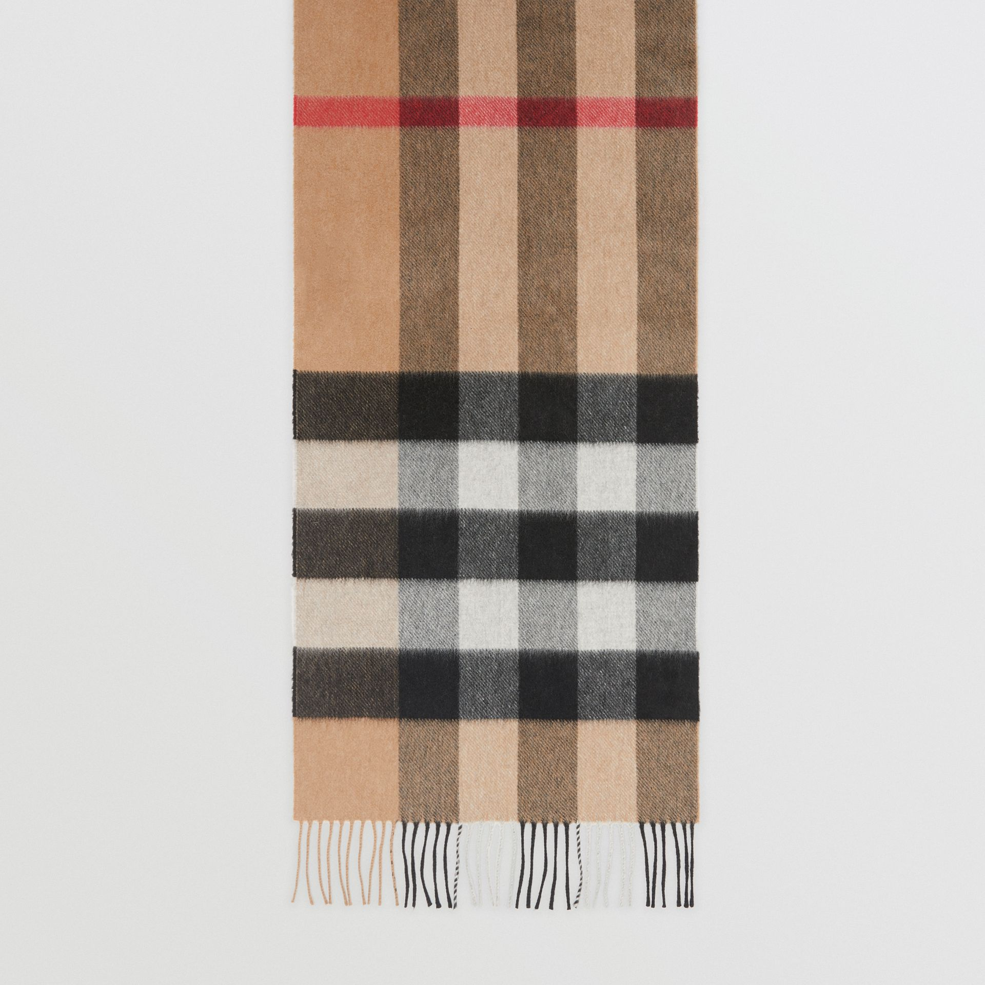 The Large Classic Cashmere Scarf in Check in Camel | Burberry - gallery image 4