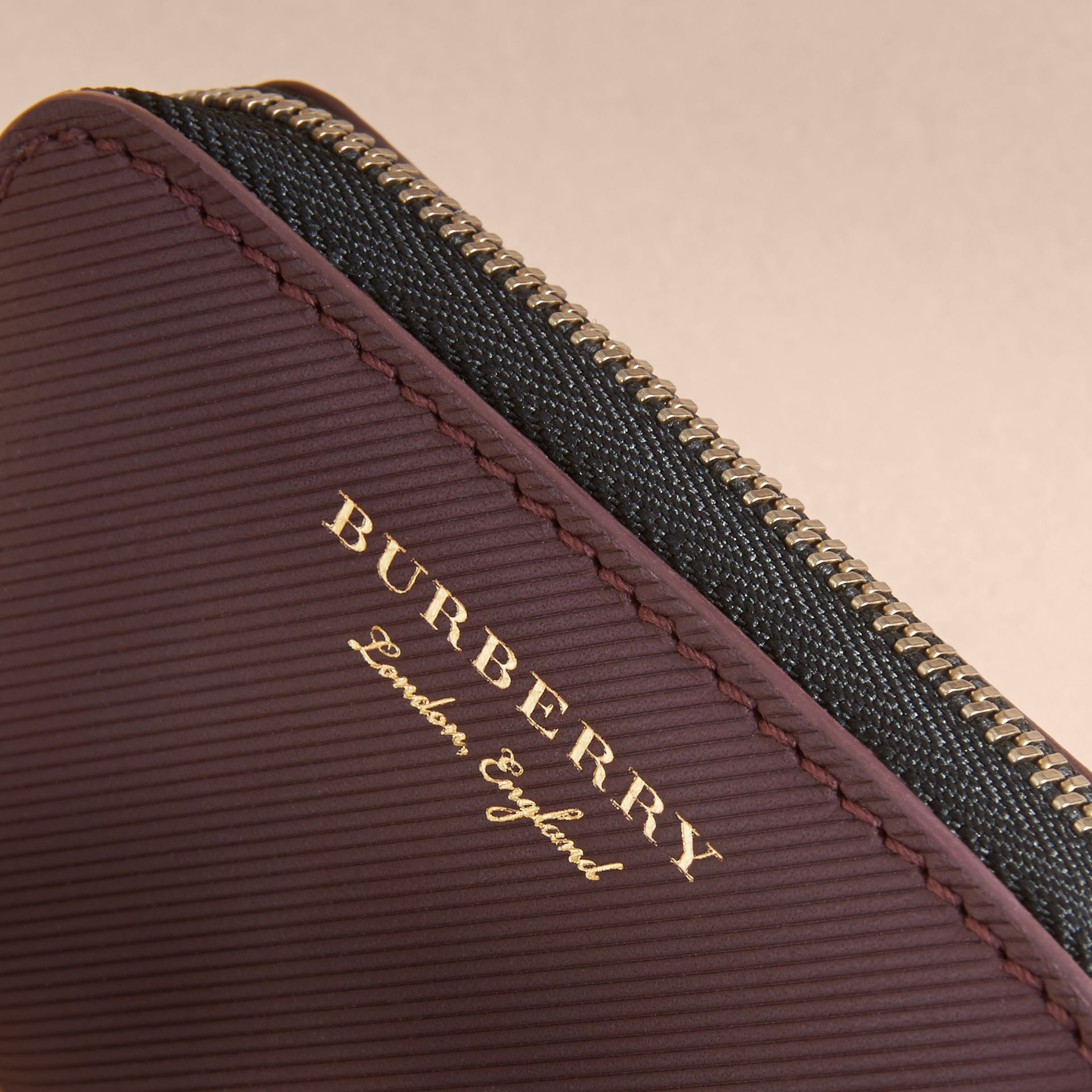 Trench Leather Ziparound Coin Case in Wine - Men | Burberry Australia - gallery image 1