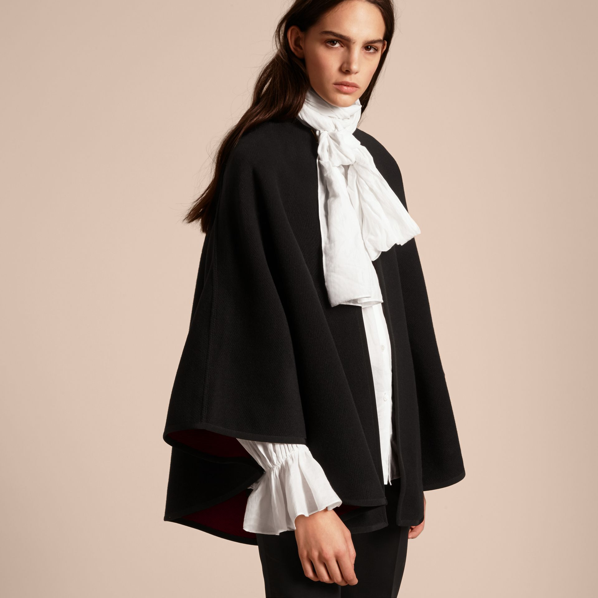 Wool Cashmere Military Cape in Black/parade Red - gallery image 7