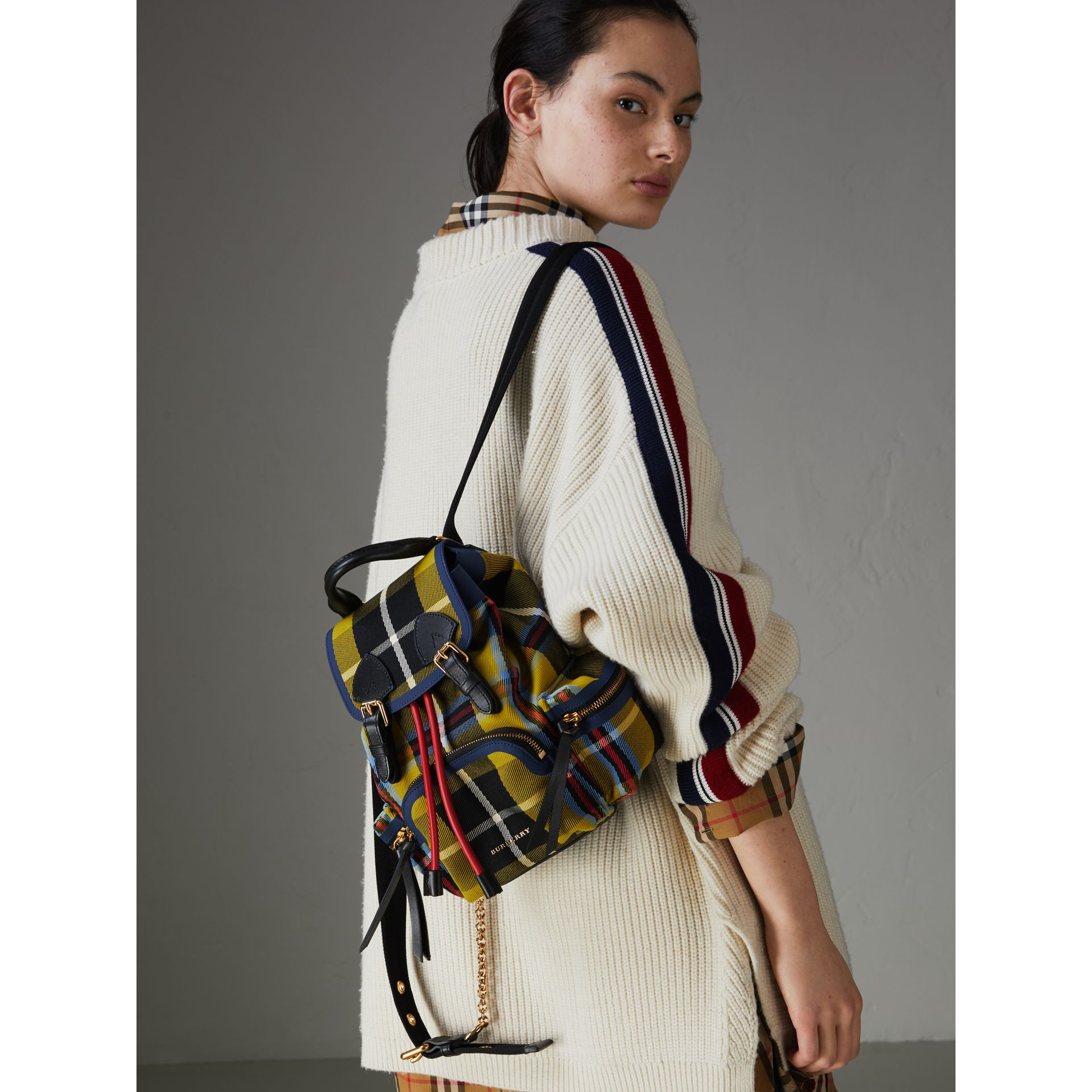 The Small Rucksack in Check Cotton and Leather in Flax Yellow - Women | Burberry United Kingdom - gallery image 3