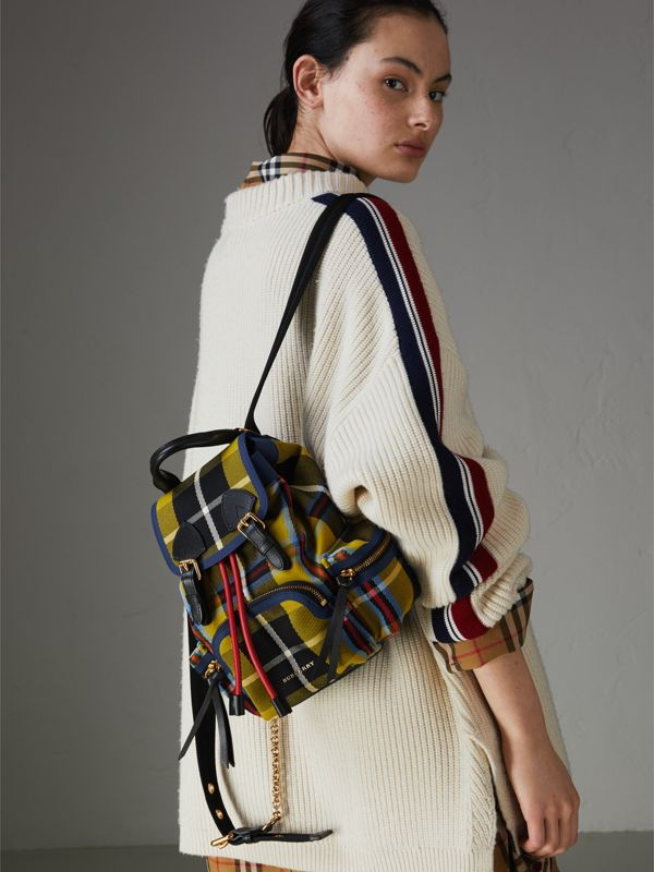 The Small Rucksack in Check Cotton and Leather in Flax Yellow - Women | Burberry - cell image 3