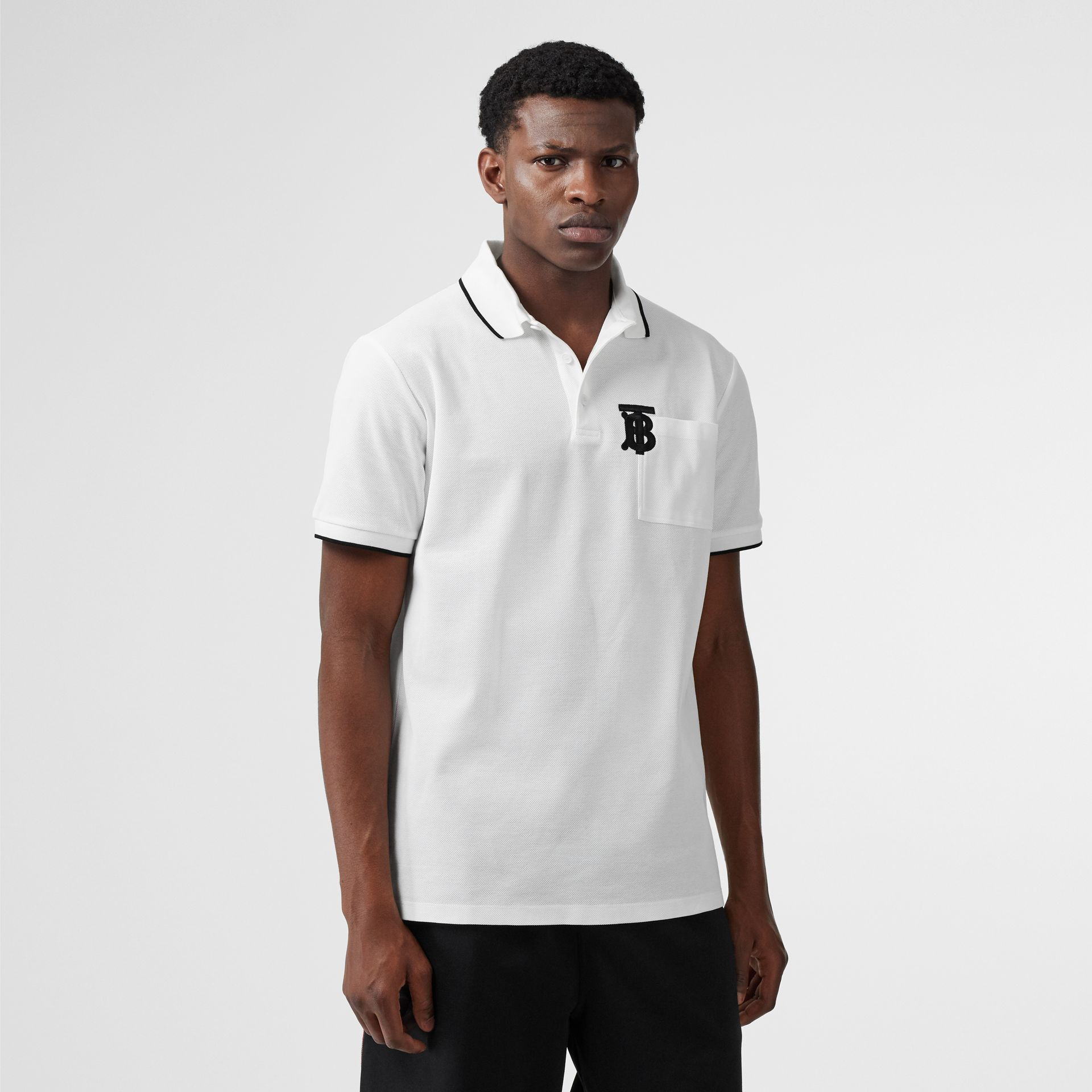 Monogram Motif Tipped Cotton Piqué Polo Shirt in White - Men | Burberry - gallery image 4