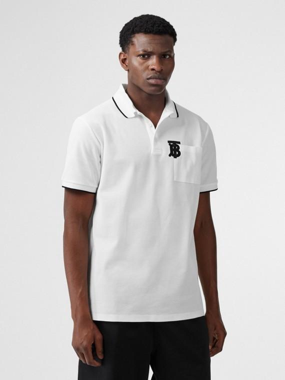 Monogram Motif Tipped Cotton Piqué Polo Shirt in White