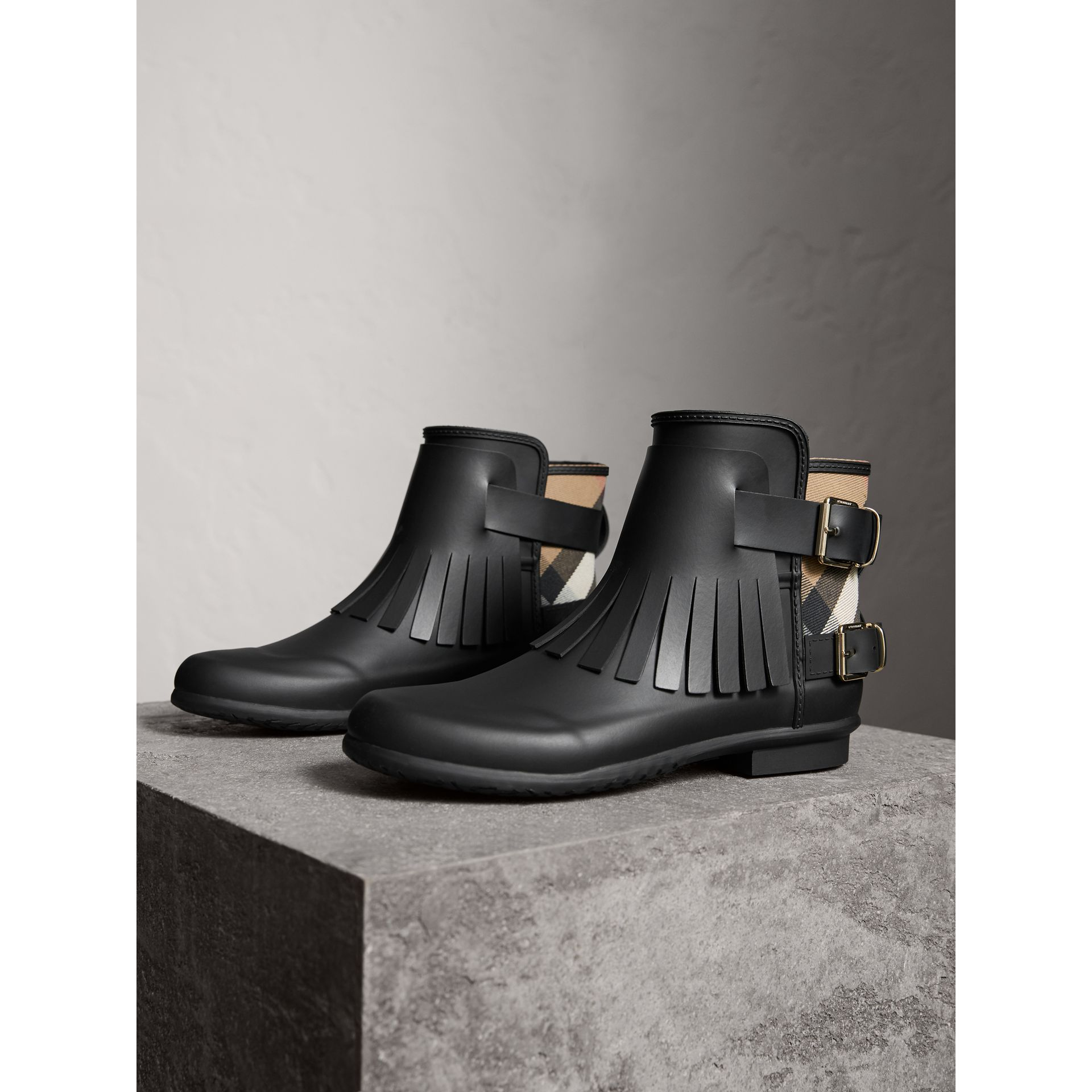 House Check and Fringed Rubber Rain Boots in Black - Women | Burberry Hong Kong - gallery image 4