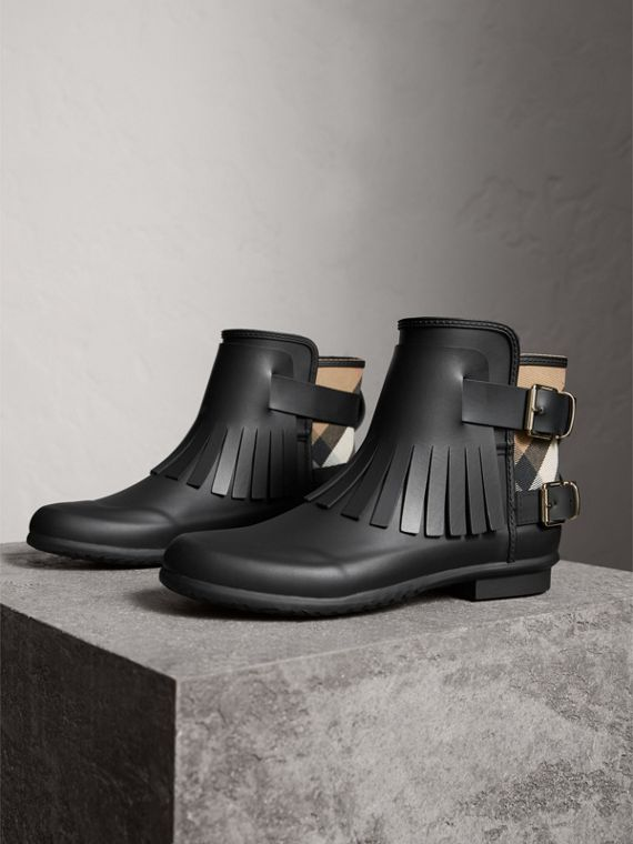 House Check and Fringed Rubber Rain Boots in Black - Women | Burberry Hong Kong - cell image 3