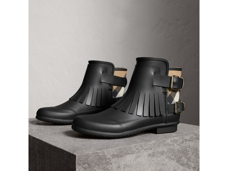 House Check and Fringed Rubber Rain Boots in Black - Women | Burberry - cell image 4